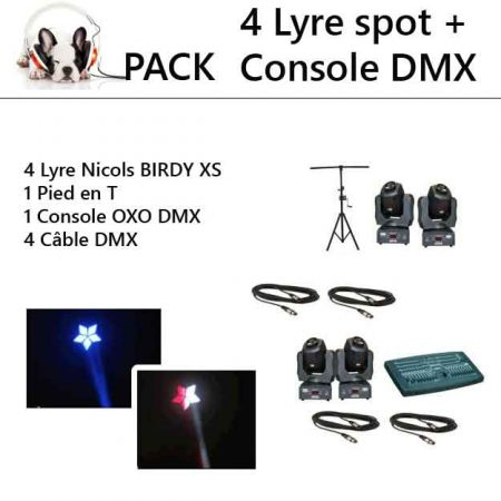 pack 4 lyre sono 450x450 - Location pack  4 Lyres spot + Console DMX