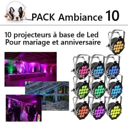 pack ambiance lumiére mariage anniversaire 10 450x450 - Location pack ambiance : 10 projecteurs a led kit d'éclairage
